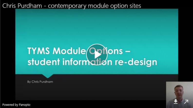 Title slide of video - TYMS module options - student information re-design by Chris Purdham