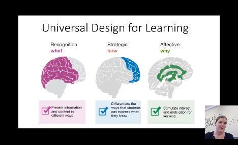 Screenshot of Emily Brunsden's slide on universal design for learning,