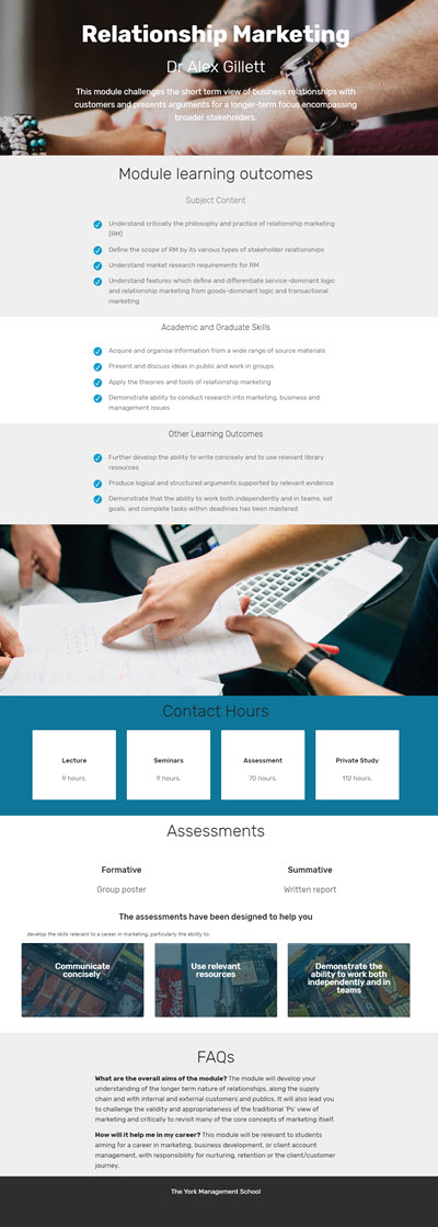 An example site with clear sections for information and attractive images to project a professional look and feel.