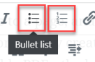 location of bullet list and number list on the menu bar