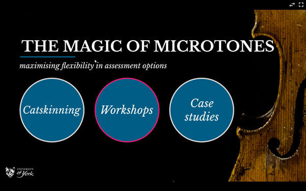Introductory slide from presentation.  Title: The magic of microtones: Maximising flexibility in assessment options.  The three key themes from the presentation are shown: Catskinning, Workshops and Case studies.