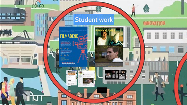 Slide from the presentation entitled 'student work'. Examples of posters, videos, and web pages produced by students.