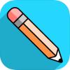 "Icon of the ""Blackboard App"", a pencil on a blue square"