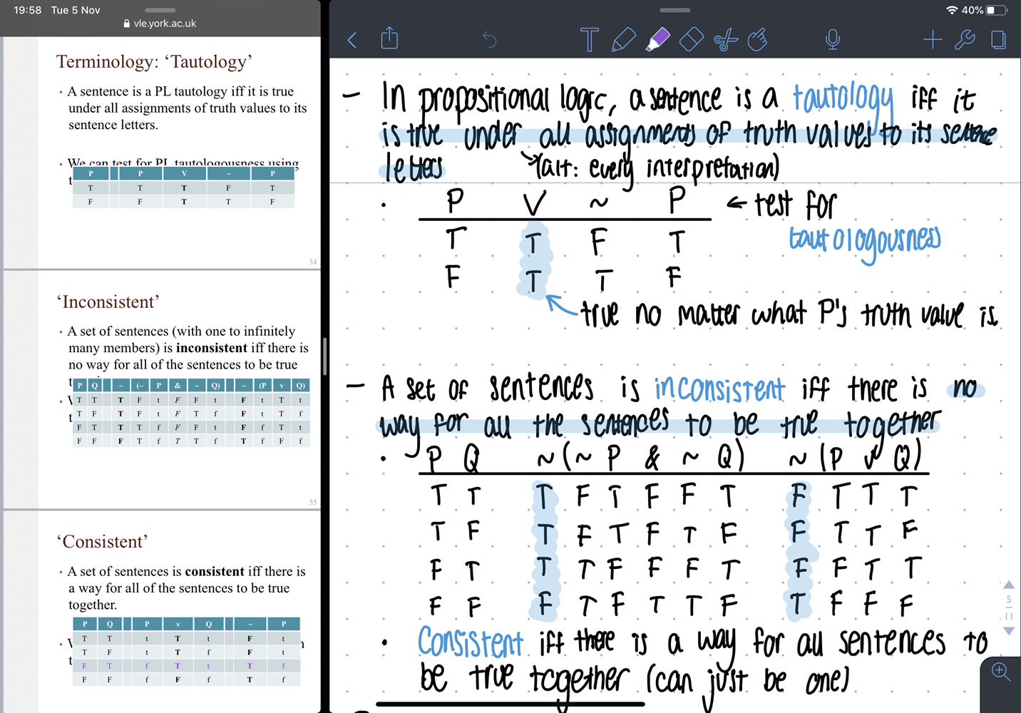 Handwritten notes side by side with lecture slides on an iPad Pro
