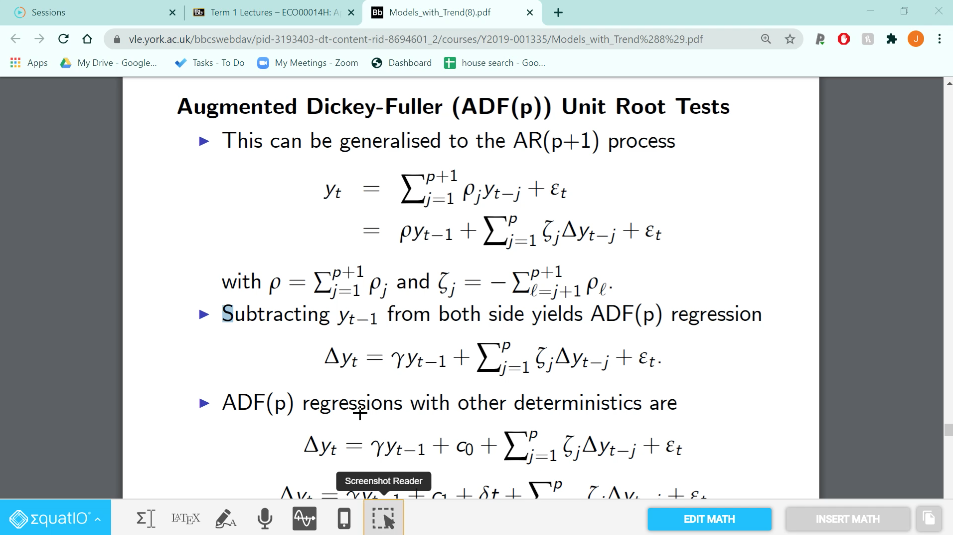 A PDF is open in a browser. The Equatio toolbar is open with the screenshot reader selected.